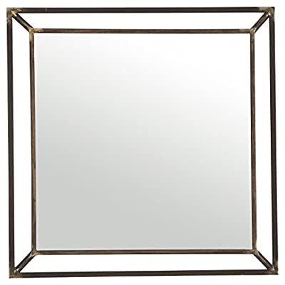 "Amazon Brand – Rivet Beveled Metal Mirror, 24""H, Iron Finish - Rods of iron come together to form a beveled frame that adds depth and texture, while the weathered dark finish gives it a vintage look. This mirror will blend with classic and transitional styles in a bedroom, hallway or living room. 24"" x 24"" Modern design with rustic finishes - bathroom-mirrors, bathroom-accessories, bathroom - 41ZO0YjFY8L. SS400  -"