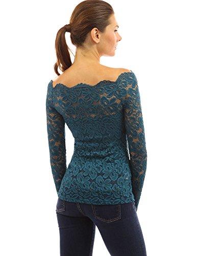 PattyBoutik chemise Turquoise et paules Fonc transparente dnudes chic manches dentelle en demi longues TwqrBaxw