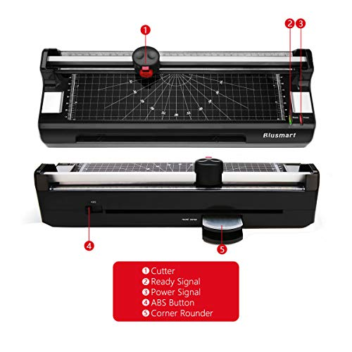 Large Product Image of 4 in 1 Blusmart OL288 Laminator, A4, Rotary Trimmer/Corner Rounder/10 Laminating Pouches, Black4
