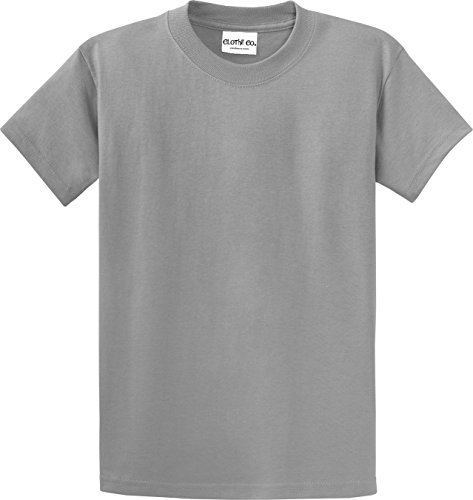 (Clothe Co. Mens Big & Tall Heavyweight 100% Cotton Short Sleeve T-Shirt, Medium Grey, Lt)