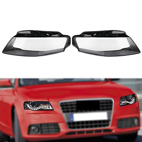 (For Audi A4 2009-2012 B8 Left and Right Front Kit Cover Lens for Headlights (US Shipment))