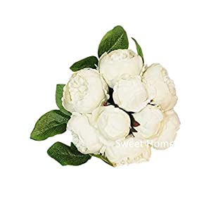 Sweet Home Deco 12'' Silk Peony Artificial Flower Bouquet Wedding/Home Decorations (14 Stems/9 Flower Heads) (White) 84