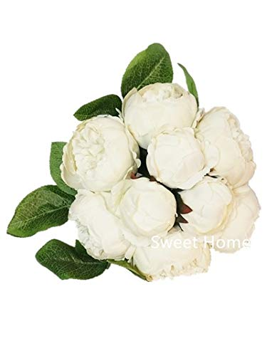 (Sweet Home Deco 12'' Silk Peony Artificial Flower Bouquet Wedding/Home Decorations (14 Stems/9 Flower Heads) (White))