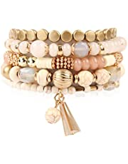 RIAH FASHION Bead Multi Layer Versatile Statement Bracelets - Stackable Beaded Strand Stretch Bangles Sparkly Crystal, Tassel Charm