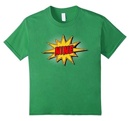 Kids Kids 9th Birthday Comic Superhero T-Shirt for 9 Yr Old Boys 8 Grass (Comic Retro Old Shirt)