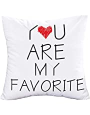 Easternproject You are My Favorite Quote Throw Pillow Covers 18x18 Inch Black White Words Letters with Sweet Heart Pillow Cases Super Soft Home Decor Cushion Cover for Couple Lover Wedding