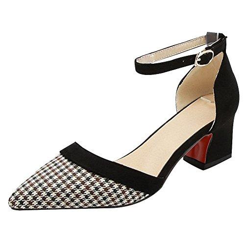 Carolbar Women's Fashion Sexy Plaid Mid Heel Buckle Pointed Toe Court Shoes Black HCp9K9FTOT