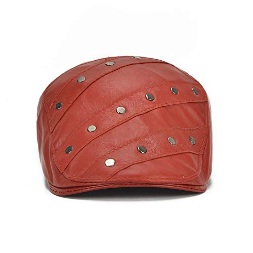 LYEJM Womens Winter Warm Rivet Real Leather Adjustable Painter Beret Caps Outdoor Durable Forward Hat (Color : Color Red, Size : One Size)