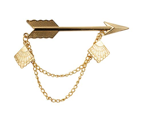 Knighthood Golden Arrow with Hanging Chain and Emblem Detailing Lapel Pin/Shirt Stud for Men