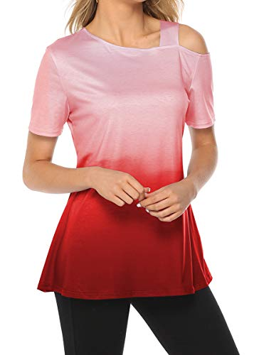 (Sipaya Off The Shoulder Gradient Tops Women Sexy Spring T Shirts for Women Red L)