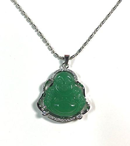 18k White Gold Plate Green natural JADE jadeite Pendant Buddha god Chinese religion Necklace pendent Diamond Imitation BB00285781AA