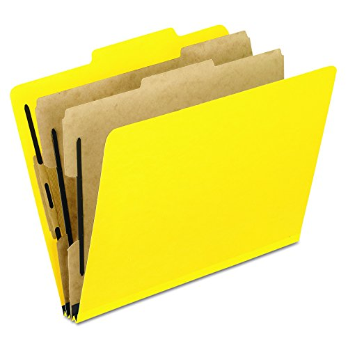 Pendaflex Moisture-Resistant Color Classification Folders, Letter Size, 2 Dividers, Yellow, 2/5 Cut, 10/BX (1257Y)
