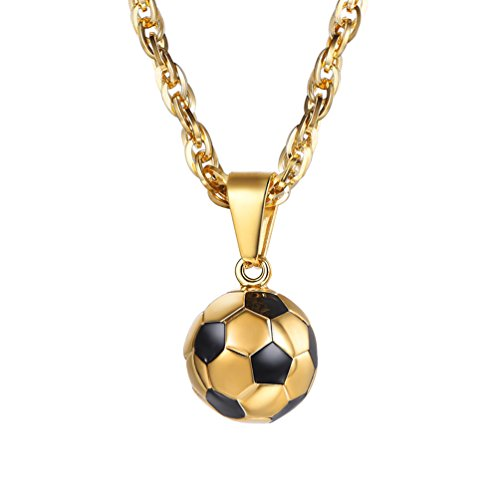PROSTEEL Soccer Necklace Sports Jewelry 18K Gold Plated Mom Dad Men Women Unisex Football Player Gift Lucky Charm Ball Pendant Necklace