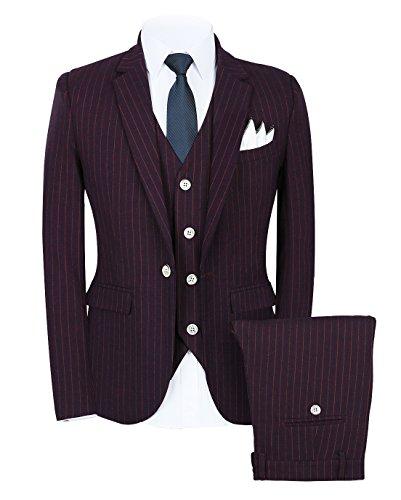 Mens Pinstripe Suit 3 Piece Slim Fit Casual Dress Suits Blazer+Vest+Pants US Size 36 (Label XXL) Purple