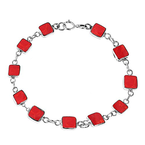 AeraVida Modernist Square Reconstructed Red Coral Double Sided .925 Sterling Silver Link Bracelet