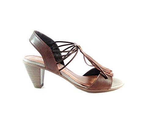 Hispanitas High Heels Braun mit Fransen Damen-Sandale