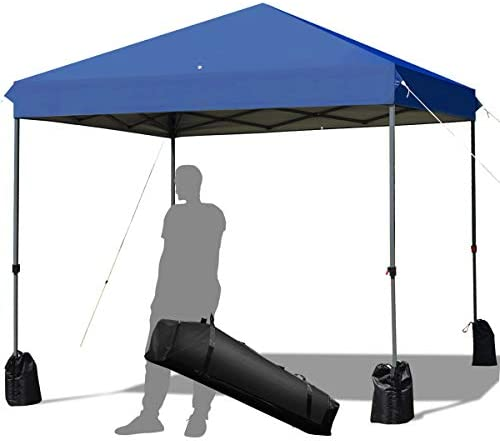 Tangkula 8 x 8 Ft Outdoor Pop up Canopy Tent, Outdoor Commercial Instant Shelter w Roller Bag and Sand Bags, Straight Leg Folding Tent with 64 Square Feet of Shade for Camping, Party, Barbeque