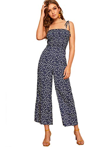Floerns Women's Palm Leaf Print Shirred Back Button Cami Palazzo Jumpsuit Navy M ()