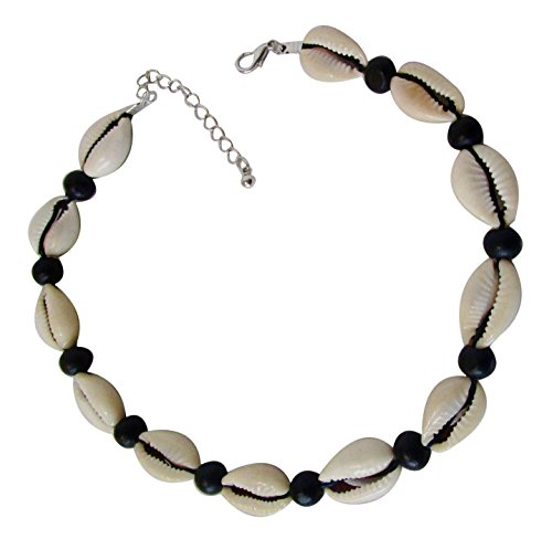 Cowrie Shells Necklace Choker with Black Beads Authentic African Jewelry for Beach Surfer 16 inches