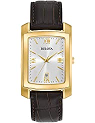 Bulova Men's Quartz Stainless Steel and Leather Casual Watch, Color:Brown (Model: 97B162)