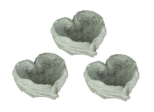 - A&B Home Heart Shaped Cement Angel Wings Decorative Bowl Set of 3