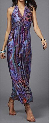 Grande Saveur Sexy Womens Profonde Impression Licol V-cou Haut Swing Taille Longue Robe Violette