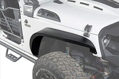 - Hooke Road Solid Steel Enhanced Flat Front & Rear Fender Flares Kit for 2007-2018 Jeep Wrangler JK & Unlimited(4PCS)