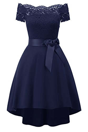 Party Dress Prom Off Shoulder Cocktail Dress Navy Vintage Lace Avril Formal Evening Women's vw0pqdHH