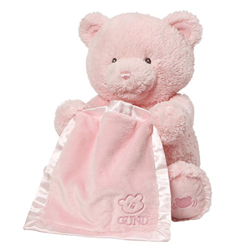 Baby GUND My First Teddy Bear Peek A Boo Animated Stuffed Animal Plush, Pink, -