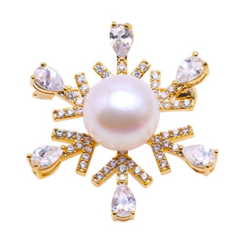 JYX Fine Snowflake-Style White Freshwater Pearl Brooches Pin Golden-Tone (Golden)