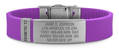 Road ID Diabetes Bracelets - the Wrist ID Slim 2 with Diabetes Type 2 Badge - Custom Engraved Diabetes Medical Bracelet - Wristband