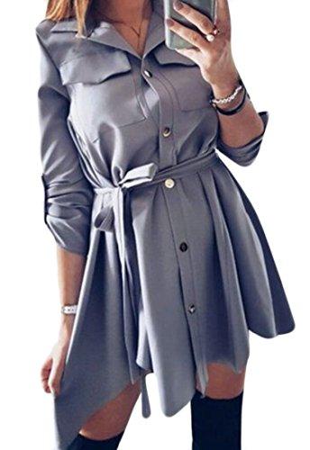 Domple Femmes Manches Bouton Boutonnière Enroulable Vers Le Bas Ceinturée Parti Mini Robe 1