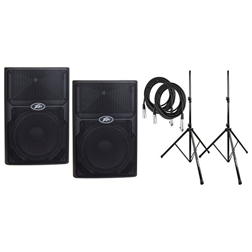 Two Way Bi Amped - Pair of Peavey 03616450 PVXp 12 DSP Powered Speakers w/Geartree Cloth, Stands,