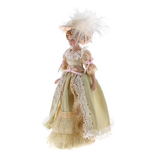 Prettyia 1:12 Scale Dollhouse Miniatures Victorian Lady Dolls Family Member Figure