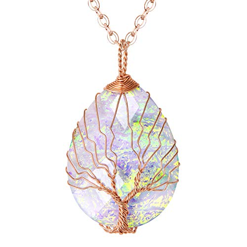 Fashion Water Drop Glitter Resign Tree of Life Pendant Necklace Handmade Tear Drop Shape Healing Crystal Jewelry for Women Girls