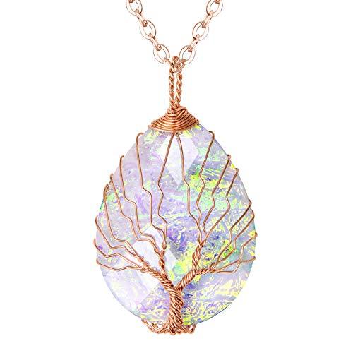 Fashion Water Drop Glitter Resign Tree of Life Pendant Necklace Handmade Tear Drop Shape Healing Crystal Jewelry for Women Girls ()