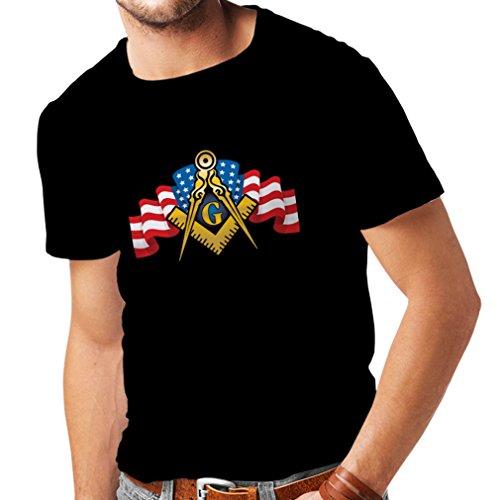 T Shirts for Men USA Flag G gnosisl Square and Compass Logo Freemason Accessories (XXX-Large Black Multi Color) -