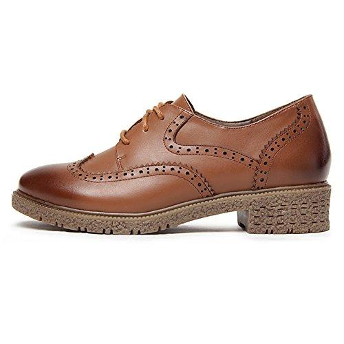 Shenn Mujer Con Cordones Cuero Brogue Zapatos de Vestir 588 Marrón