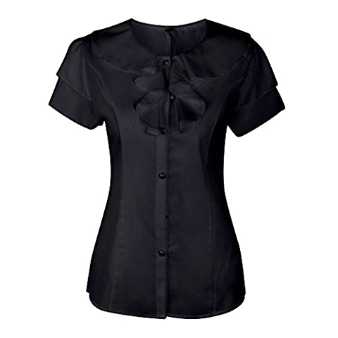 SHENERMAY Women's Flouncing Short Sleeve Round Neck Slim Chiffon Top Shirt Blouse Office Wear - Designer Sheer