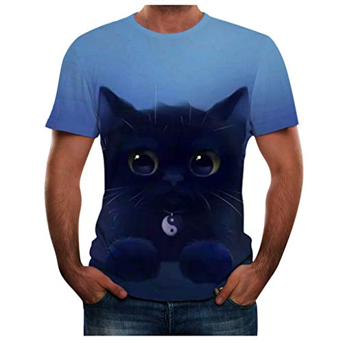 iHPH7 T-Shirts Top Tees Casual 3D Pattern Printed Short Sleeve Summer Fashion Round Neck Personalit Print Leisure Blouse Men (XXL,3- Blue) -