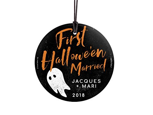 Trend Setters Personalized - First Halloween Married Ornament - Cute Ghost - Starfire Prints Suncatcher Hanging Glass Collectible