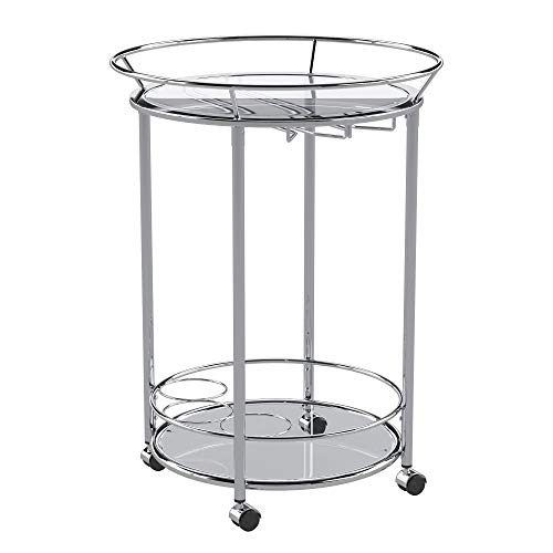 Union 5 Home Mortain Round Chrome Metal Mobile Bar Cart with Glass Top (Glass Cart Bar Round)