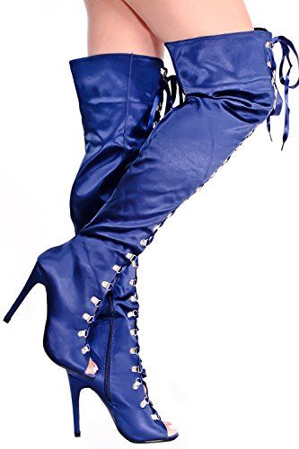 Lolli Couture Giovani Ad Alta Qualità Pizzo Floreale Design Indietro Cerniera Peep Toe Anteriore Pizzo Sopra La Piattaforma Del Ginocchio Stivali Tacco Alto Navybluesatin-m01-38