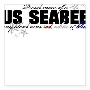 CafePress Red, White & Blue Seabee Mom Square Bumper Sticker by CafePress