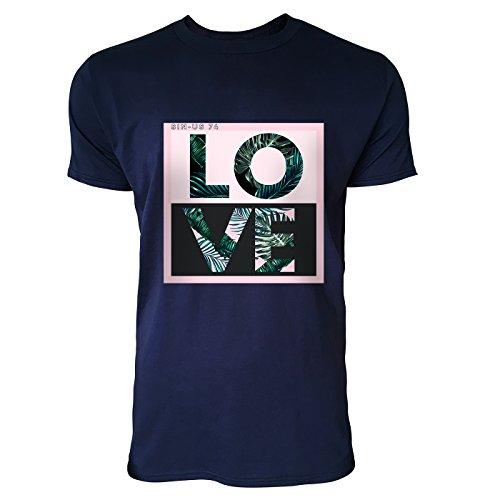 SINUS ART® Typographie Love mit Palmblättern Herren T-Shirts in Navy Blau Fun Shirt mit tollen Aufdruck