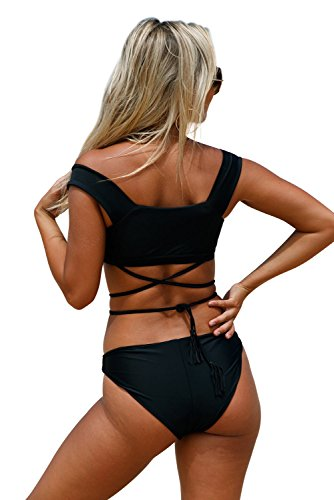 New nero Strappy Crisscross 2PCS Tankini set bikini Swimsuit Swimwear estivo taglia UK 12 EU 40