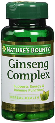Nature's Bounty Ginseng Complex Herbal Health Capsules 75 ea