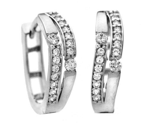Citerna - Boucles d'oreilles - Femme - Or Blanc 375/1000 (9 Cts) 2 Gr - Oxyde de zirconium
