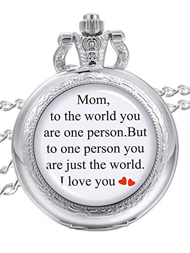 Pangda Pocket Watch I Love You Mom Watch Chain for Mothers Day Jewelry Birthday Gift