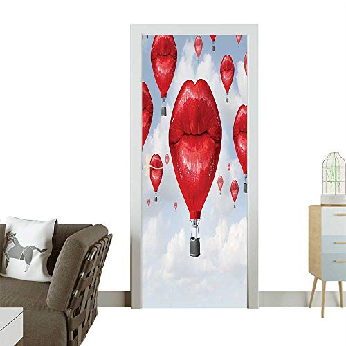 Door Sticker Wall Decals Woman Lips Shaped Hot Ballo The Sky Surreal Fun Romantic Red Baby Easy to Peel and StickW30 x H80 INCH ()